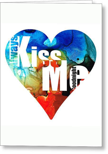 Heart Mixed Media Greeting Cards - Always Kiss Me Goodnight 6 - Valentines Day Greeting Card by Sharon Cummings