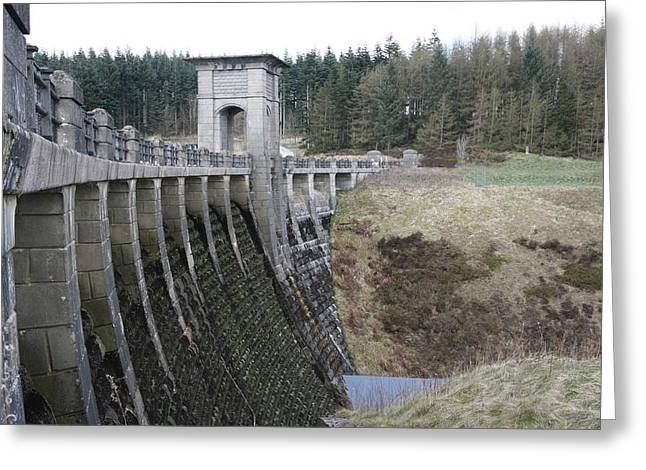 Welsh Reservoirs Greeting Cards - Alwen reservoir dam Greeting Card by Christopher Rowlands