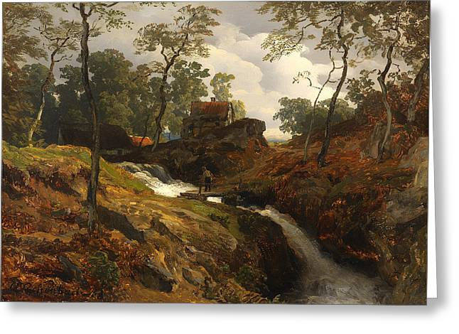 Fishing Creek Greeting Cards - Am Wildbach Greeting Card by Andreas Aachenbach