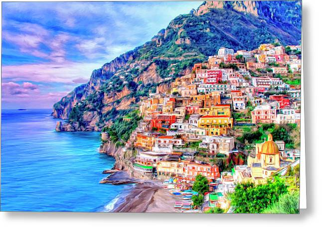 Mediterranean House Greeting Cards - Amalfi Coast at Positano Greeting Card by Dominic Piperata