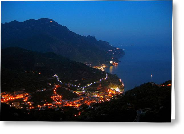 Amalfi Sunset Greeting Cards - Amalfi coast at the blue hour. Greeting Card by Peter Stone
