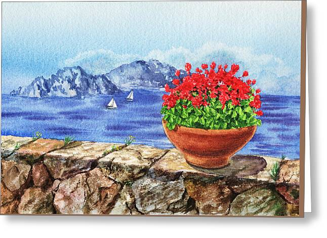 Mediterranean Style Greeting Cards - Amalfi Coast Vew Of Anacapri Greeting Card by Irina Sztukowski