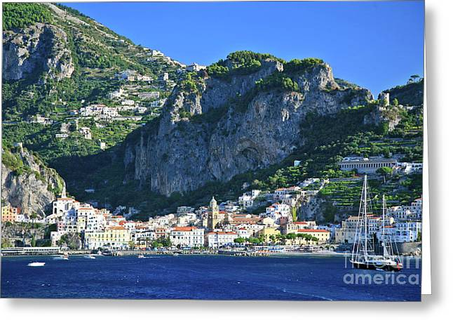 Italian Med Greeting Cards - Amalfi Cove Greeting Card by Kate McKenna