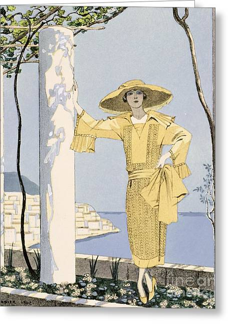 Woman In A Dress Greeting Cards - Amalfi Greeting Card by Georges Barbier