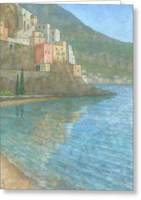 Townscape Greeting Cards - Amalfi Greeting Card by Steve Mitchell