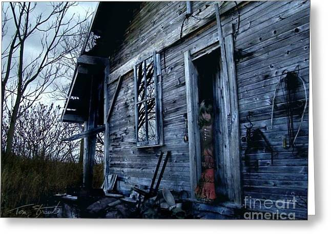 Haunted House Digital Art Greeting Cards - Amanda Greeting Card by Tom Straub