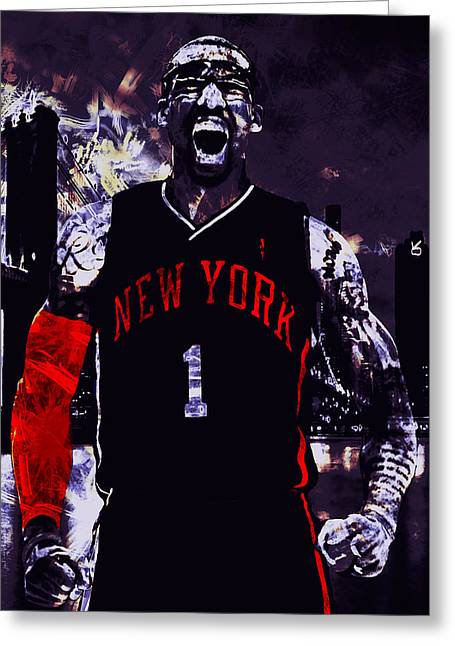 Knicks Greeting Cards - Amare Stoudemire  on Fire Greeting Card by Brian Reaves