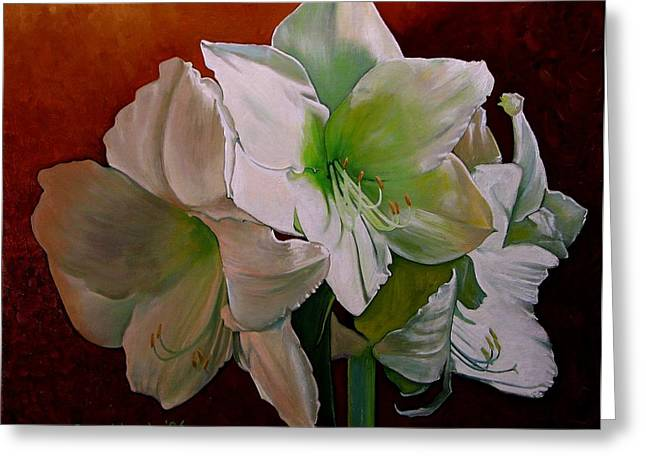 Doug Strickland Greeting Cards - Amaryllis 2 Greeting Card by Doug Strickland