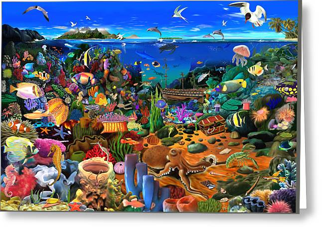 Scuba Diving Greeting Cards - Amazing Coral Reef Greeting Card by Gerald Newton