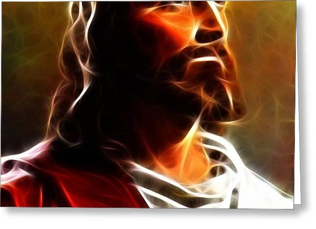 Amazing Jesus Portrait Greeting Card by Pamela Johnson