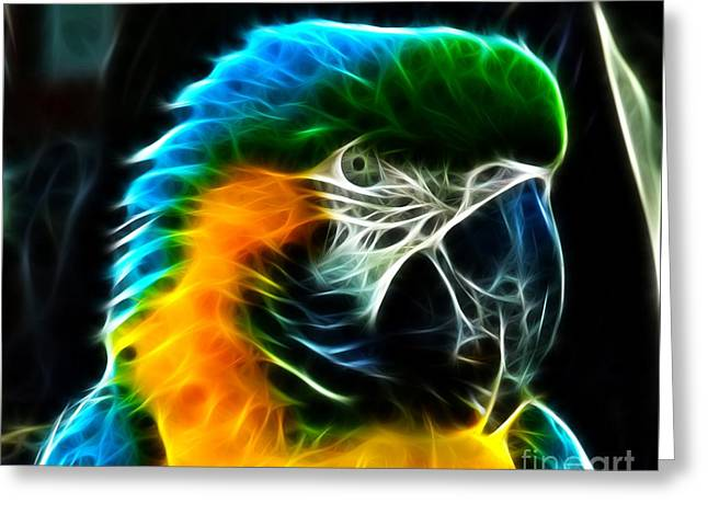 Wild Bird Mixed Media Greeting Cards - Amazing Parrot Portrait Greeting Card by Pamela Johnson