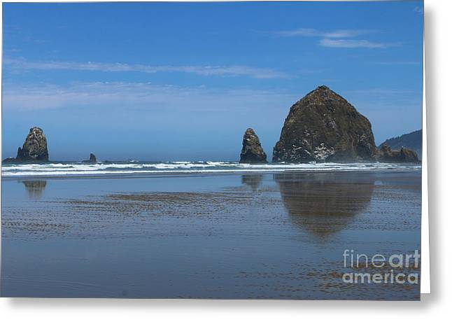 Amazing Rockformations On Cannon Beach Greeting Card by Christiane Schulze Art And Photography