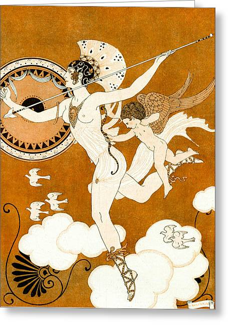 Baby Bird Drawings Greeting Cards - Amazonian Warrior Greeting Card by Georges Barbier