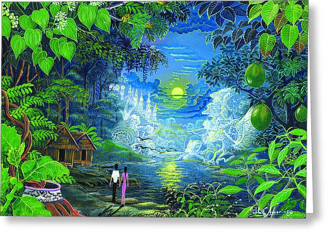 Shamanism Greeting Cards - Amazonica Romantica Greeting Card by Pablo Amaringo