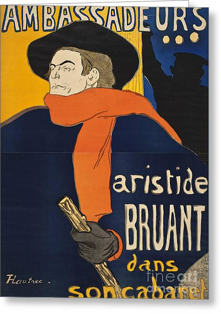 Ambassadeurs Aristide Bruant Greeting Card by Henri de Toulous
