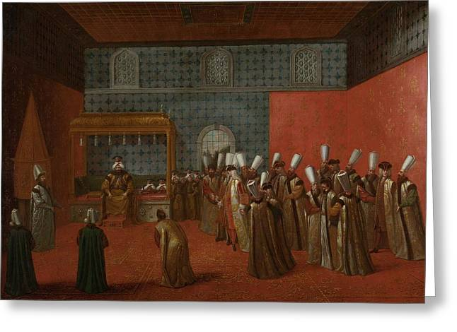 Ambassador Greeting Cards - Ambassador Cornelis Calkoen at his Audience with Sultan Ahmed III Greeting Card by Jean Baptiste Vanmour