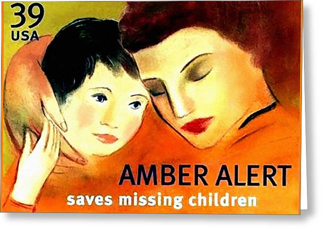 Missing Child Paintings Greeting Cards - Amber Alert Greeting Card by Lanjee Chee