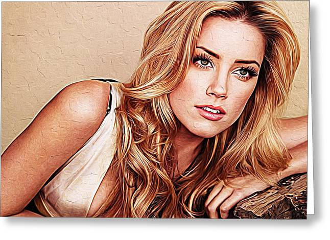 Gold Necklace Greeting Cards - Amber Heard Greeting Card by Queso Espinosa