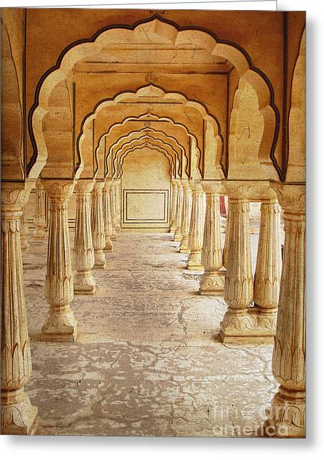 Jaipur Greeting Cards - Amber palace Greeting Card by Delphimages Photo Creations