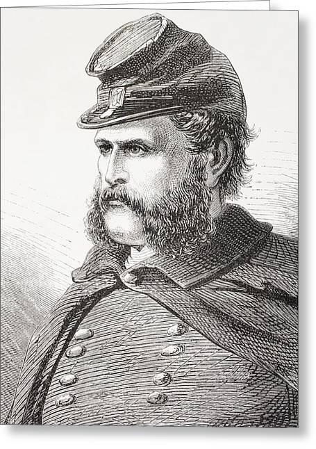 Sideburns Drawings Greeting Cards - Ambrose Everett Burnside, 1824- 1881 Greeting Card by Ken Welsh