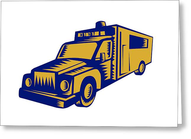 Ambulance Emergency Vehicle Truck Woodcut Greeting Card by Aloysius Patrimonio