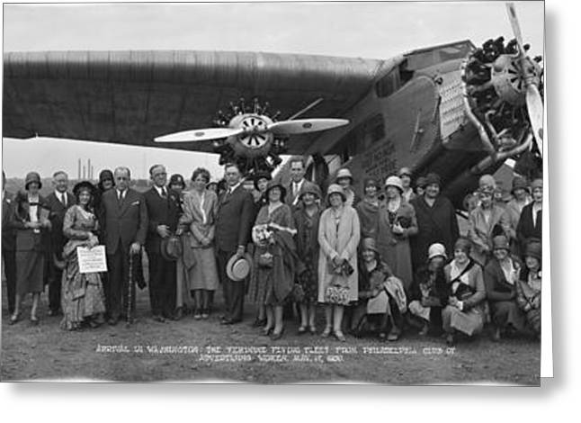 Amelia Earhart Washington Dc Airfield Greeting Card by Panoramic Images