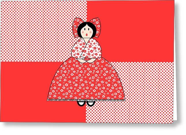 Art Quilt Greeting Cards - Amelia Greeting Card by Methune Hively