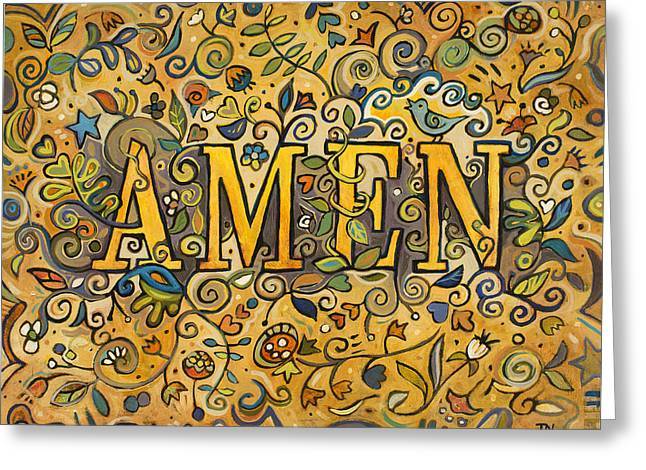 Amen Greeting Card by Jen Norton
