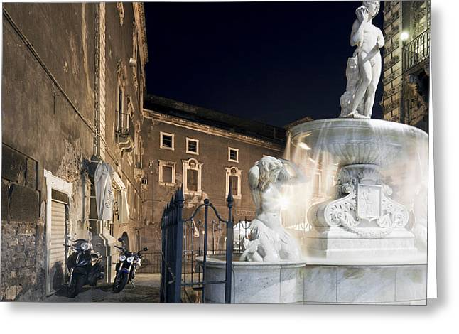 Sicily Greeting Cards - Amenano Fountain in Catania Greeting Card by Wolfgang Steiner