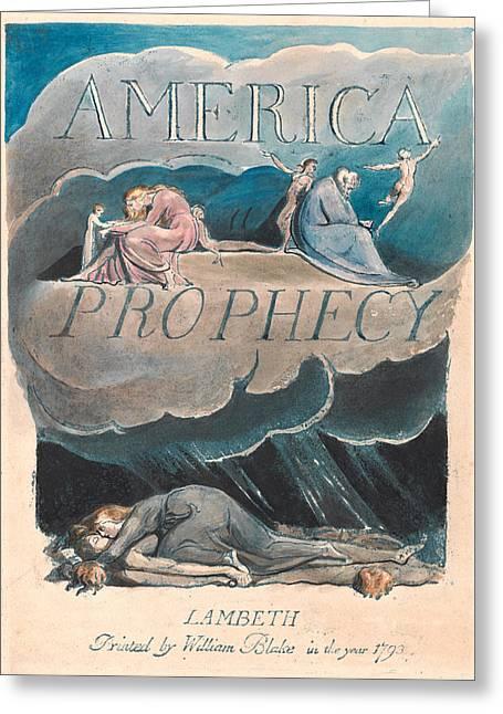 William Blake Drawings Greeting Cards - America. A Prophecy. Plate 2 Greeting Card by William Blake