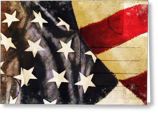 America flag pattern postcard Greeting Card by Setsiri Silapasuwanchai
