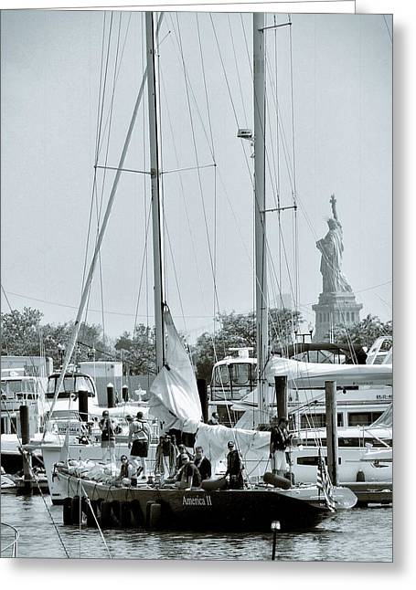 America II And The Statue Of Liberty Greeting Card by Sandy Taylor