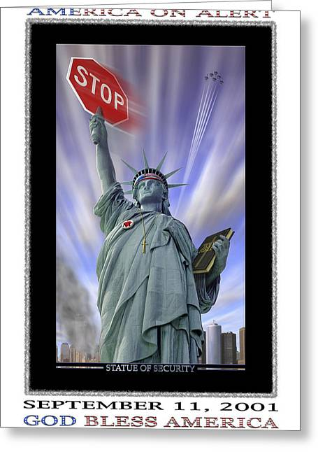 Twin Towers Greeting Cards - America On Alert II Greeting Card by Mike McGlothlen
