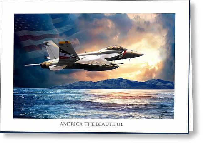 America The Beautiful Greeting Card by Regina Femrite