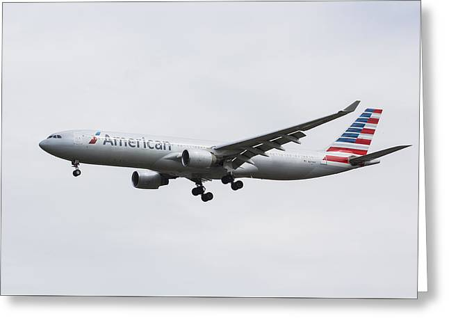 American Airlines Greeting Cards - American Airlines Airbus A330 Greeting Card by David Pyatt