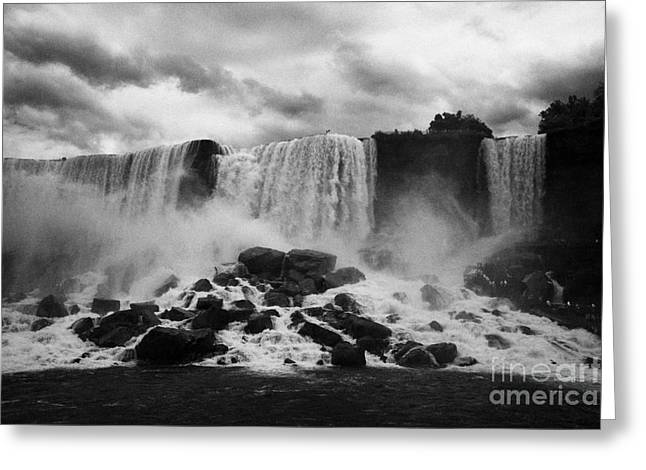 American And Bridal Veil Falls With Luna Island And Deposited Talus Niagara Falls New York State Usa Greeting Card by Joe Fox