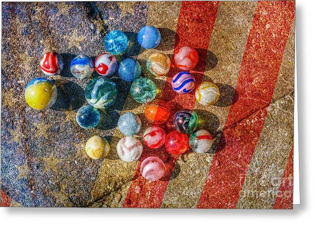 Interior Still Life Digital Art Greeting Cards - American as Marbles Greeting Card by Randy Steele
