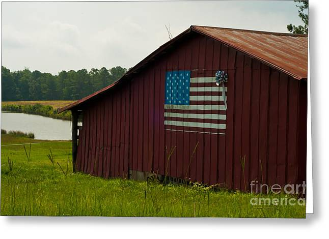 Patriotic Pyrography Greeting Cards - American Barn Greeting Card by Maureen Norcross