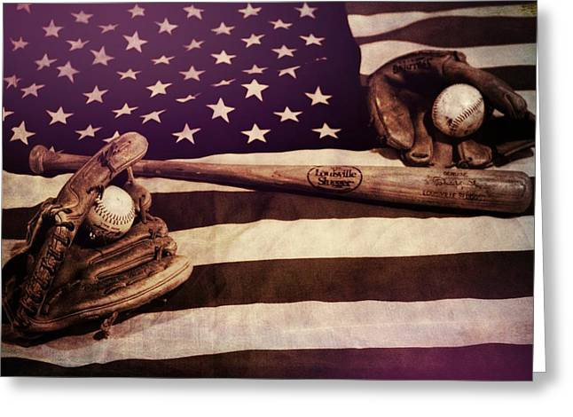 American Baseball Grunge Greeting Card by Dan Sproul