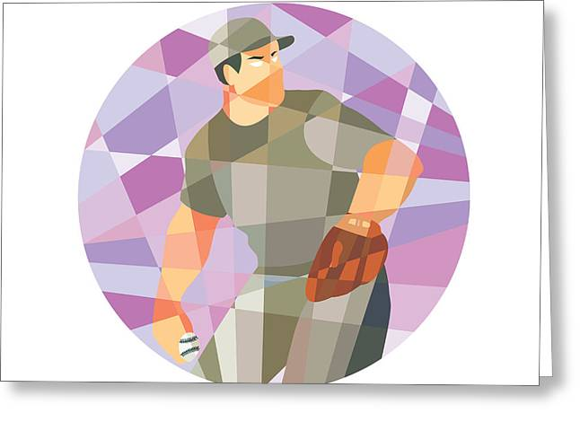 Abstract Baseball Greeting Cards - American Baseball Pitcher Throwing Ball Low Polygon Greeting Card by Aloysius Patrimonio