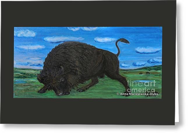 Krakowscy Malarze Greeting Cards - American Bison Greeting Card by Anna Folkartanna Maciejewska-Dyba