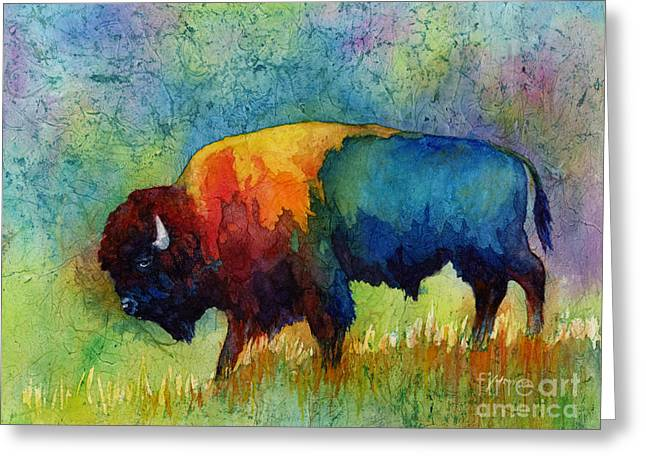 Wildlife Greeting Cards - American Buffalo III Greeting Card by Hailey E Herrera