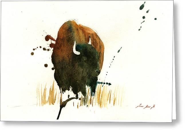 American Buffalo Greeting Cards - American Buffalo painting Greeting Card by Juan  Bosco