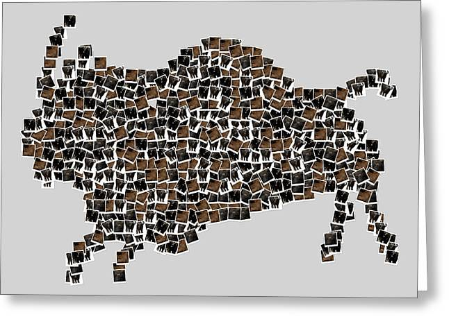 Buffalo Art Greeting Cards - American Buffalo Greeting Card by Toppart Sweden