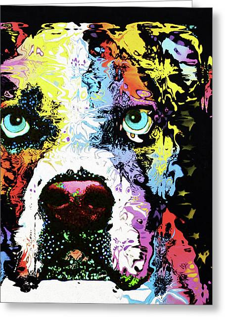 American Bulldog By Nixo Greeting Card by Nicholas Nixo