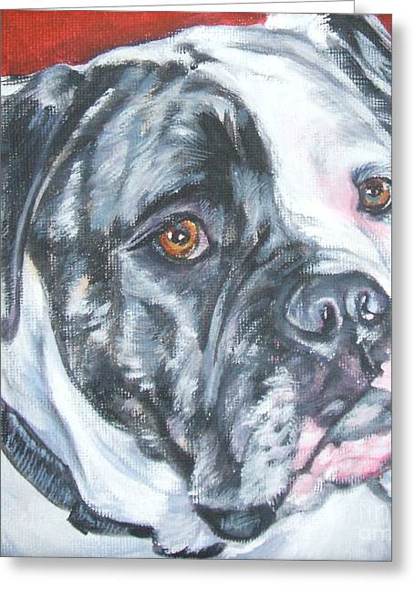 Bully Paintings Greeting Cards - American Bulldog Greeting Card by L A Shepard