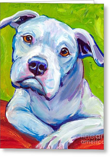 Bully Paintings Greeting Cards - American Bulldog on Elbows Greeting Card by Dottie Dracos