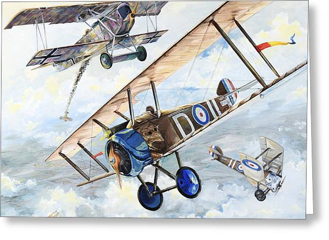 Biplane Greeting Cards - American Camel Greeting Card by Charles Taylor