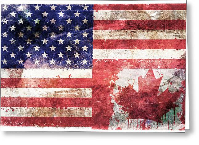 Tattered Greeting Cards - American Canadian Tattered Flag Greeting Card by Az Jackson
