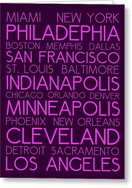 Charlotte Greeting Cards - American Cities in Bus Roll Destination Map Style Poster Greeting Card by Adam Asar